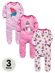 baby-girls-3-pack-snowman-sleepsuits
