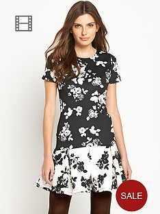 definitions-contrast-mono-print-drop-waist-dress