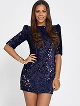 Sequin Cut Out Back Mini Dress