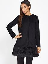 Melton Wool Swing Coat with Fur Hem