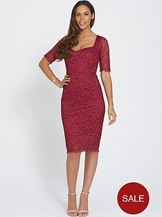 rochelle-humes-lace-three-quarter-sleeve-dress