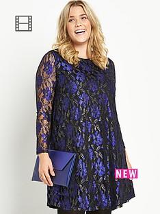 metallic-lace-long-sleeve-swing-dress