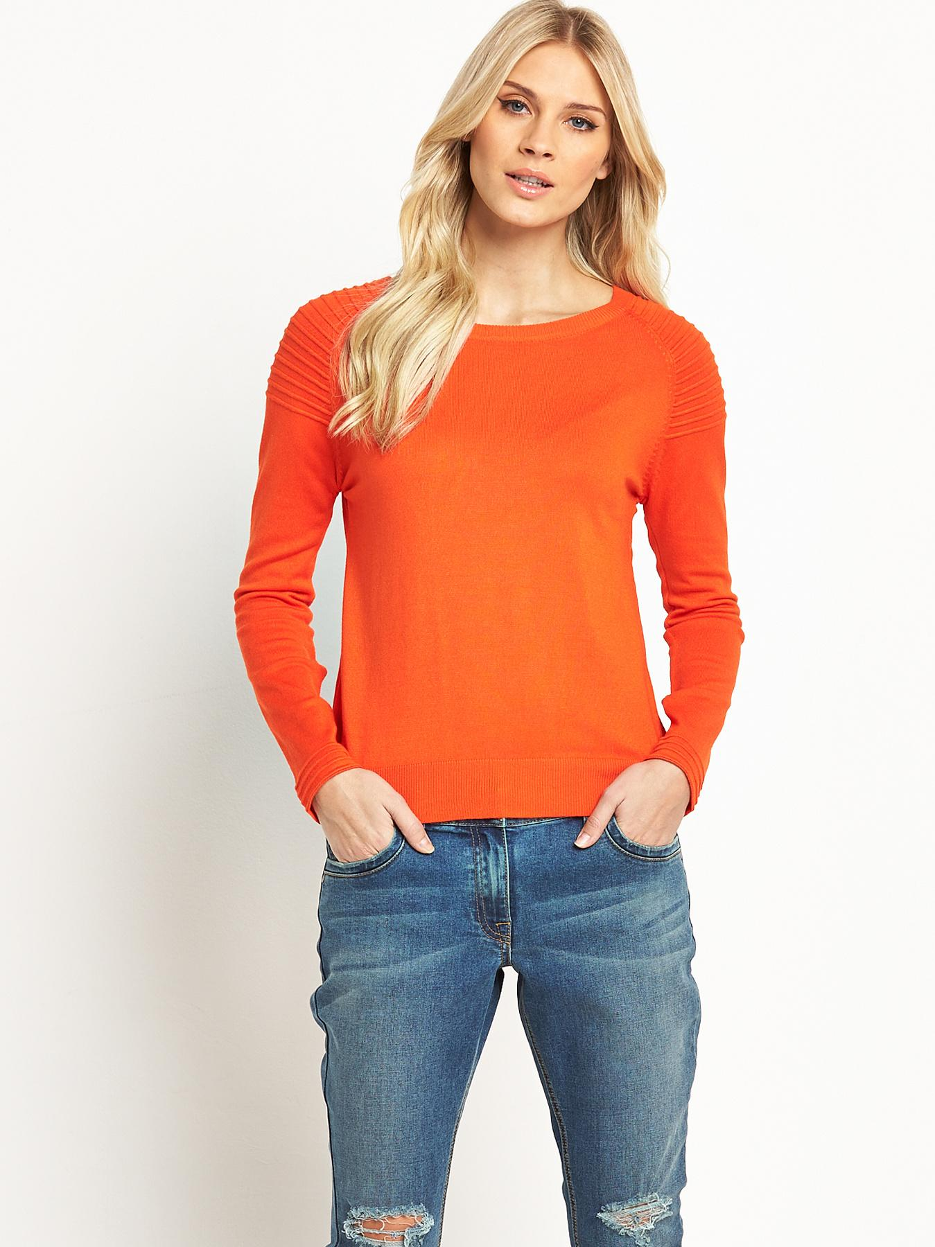 South Ripple Stitch Shoulder Detail Jumper - Black, Black,Orange,Lime