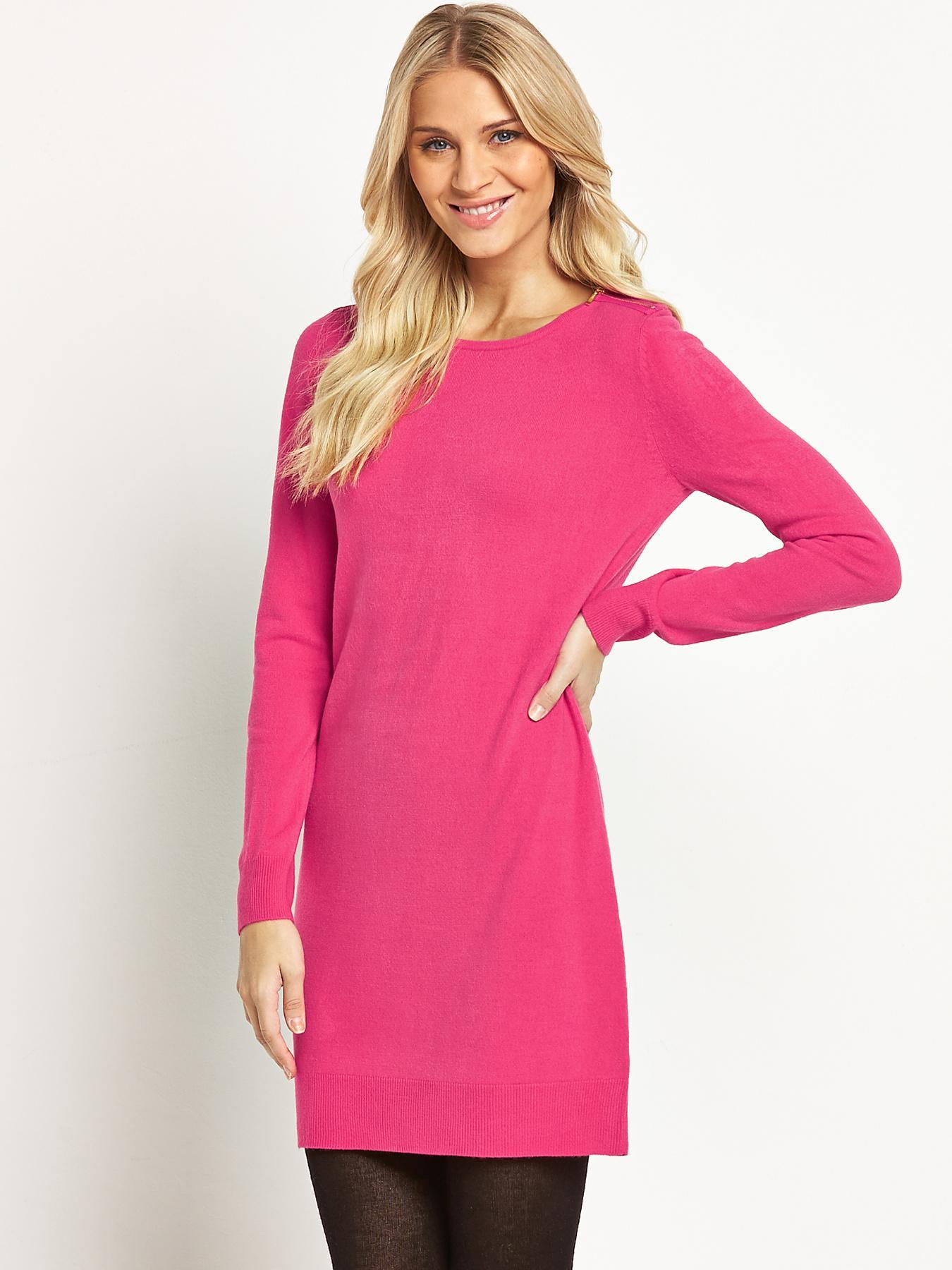 South Zip Shoulder Tunic Dress - Pink, Pink,Purple,Black