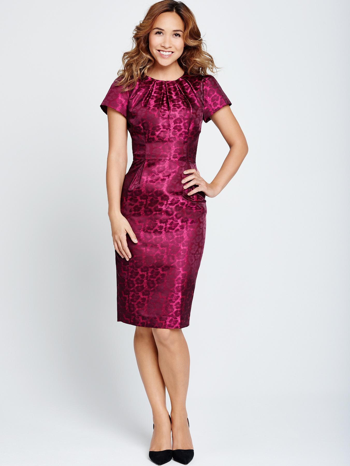 Myleene Klass Animal Jacquard Dress - Purple, Purple