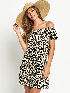 resort-animal-print-bandeau-jersey-beach-dress