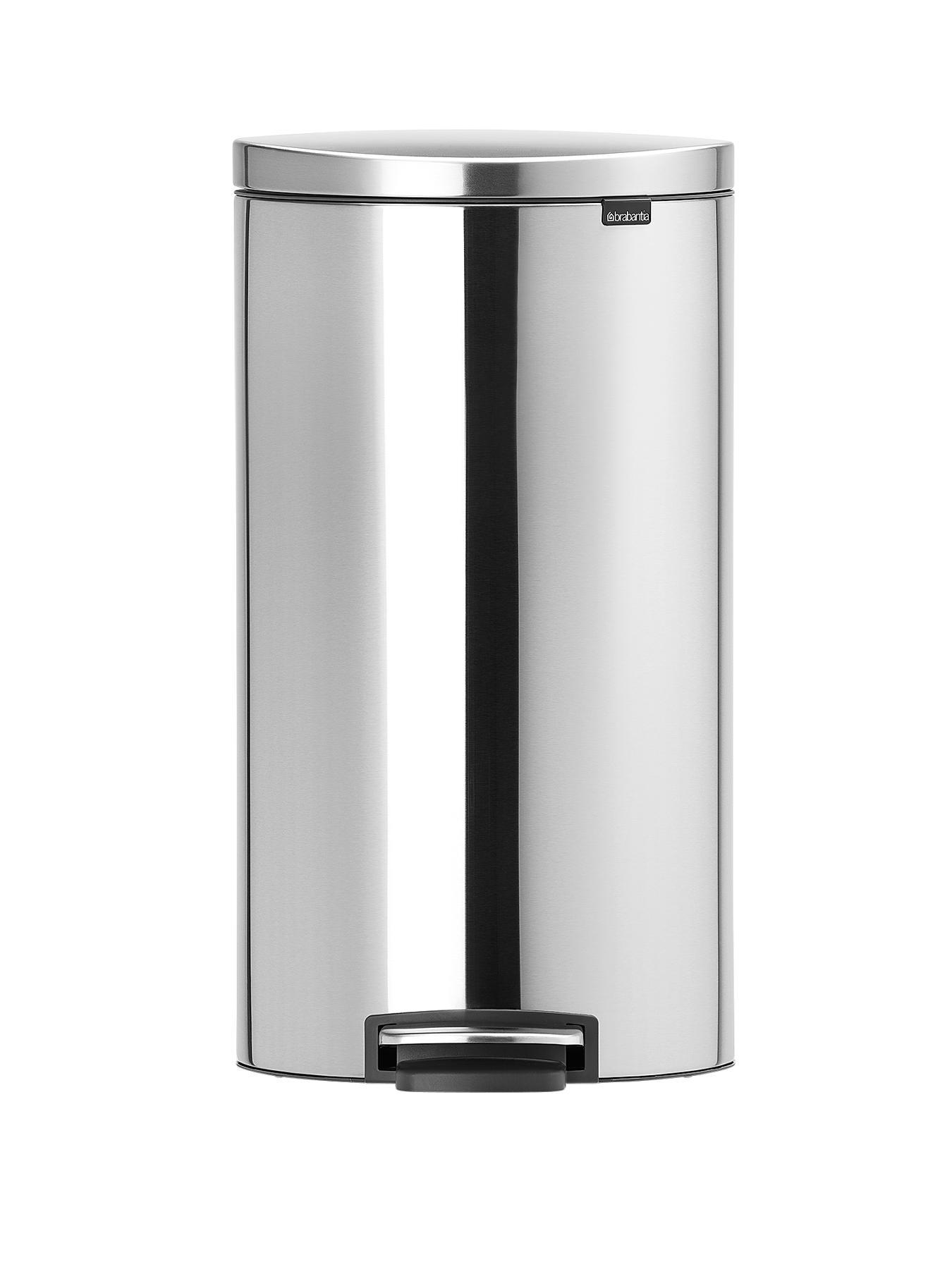 Brabantia Fingerprint Proof 30-Litre Flat Back Pedal Bin - Matt Steel