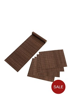 bamboo-placemats-and-runner-set-dark-natural