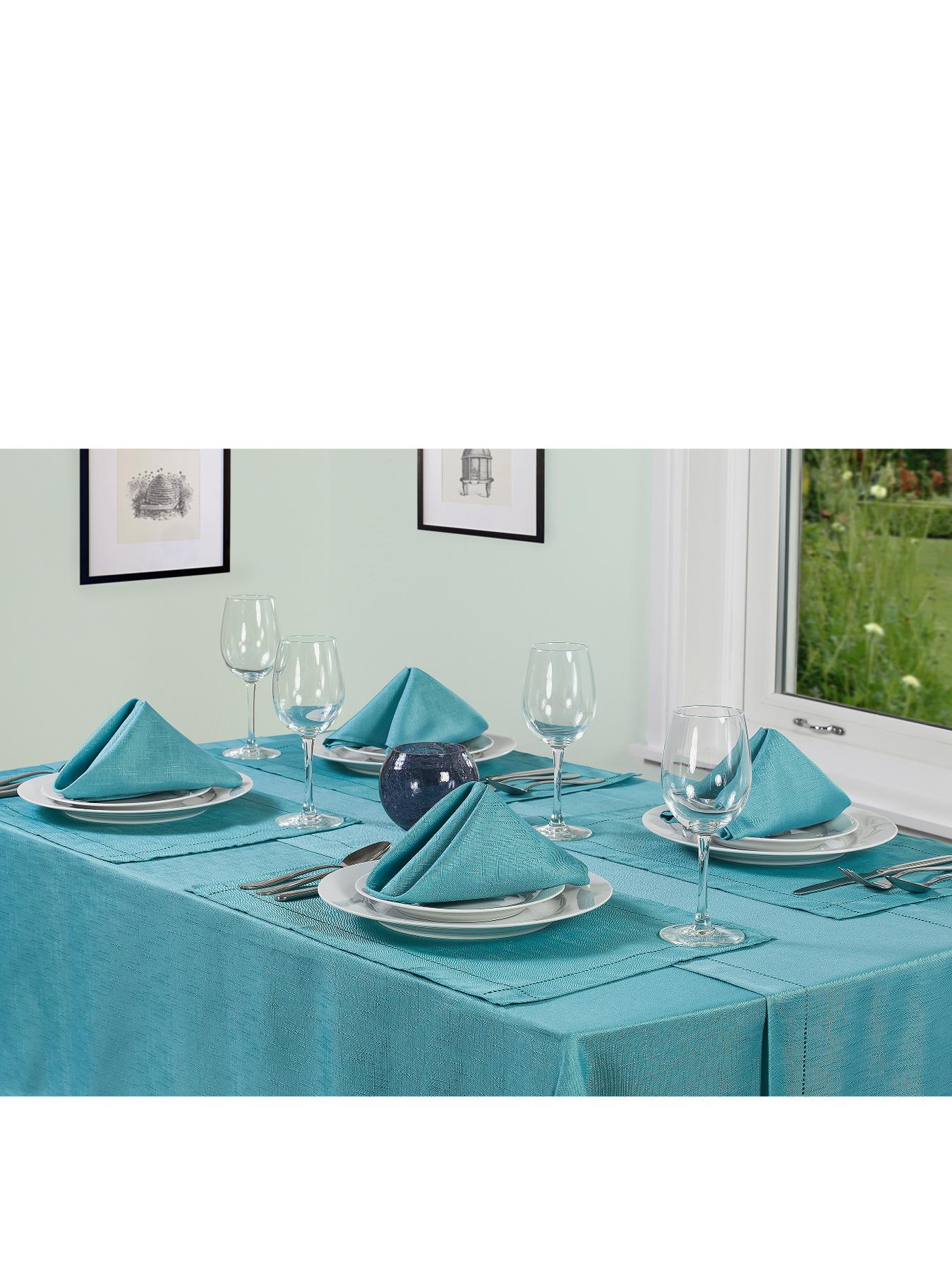 Linen Look Table Textile Set - Teal - Teal, Teal