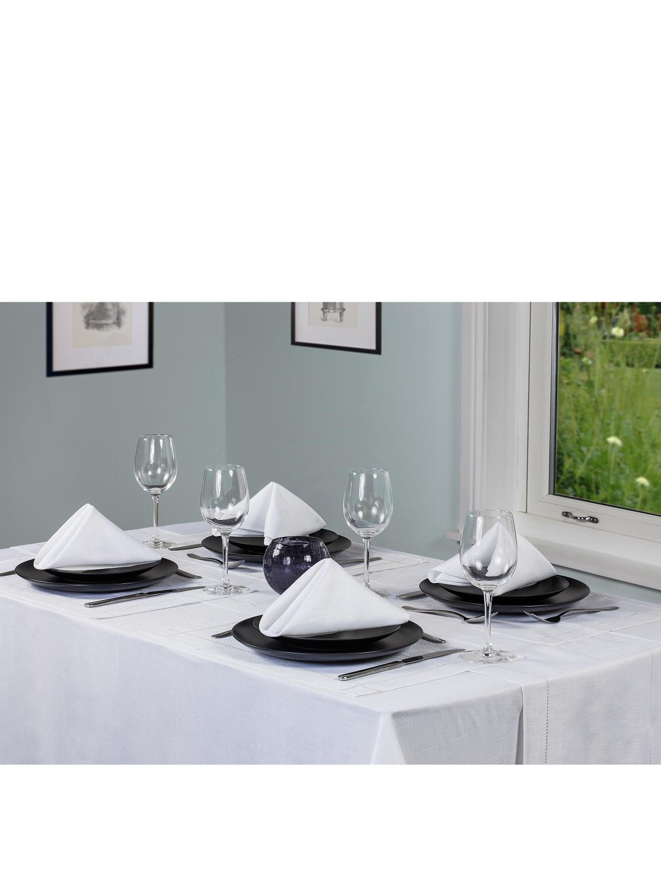 Linen Look Table Textile Set - White - White, White