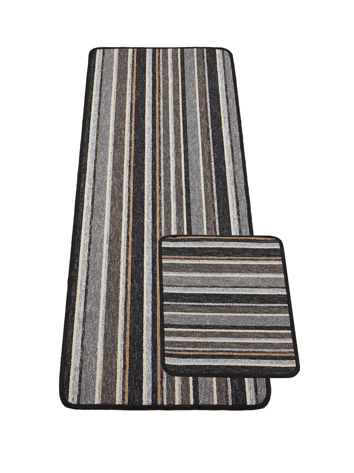 Central Utility Runner/Door Mat Set - Plum, Plum,Anthracite,Chocolate,Red