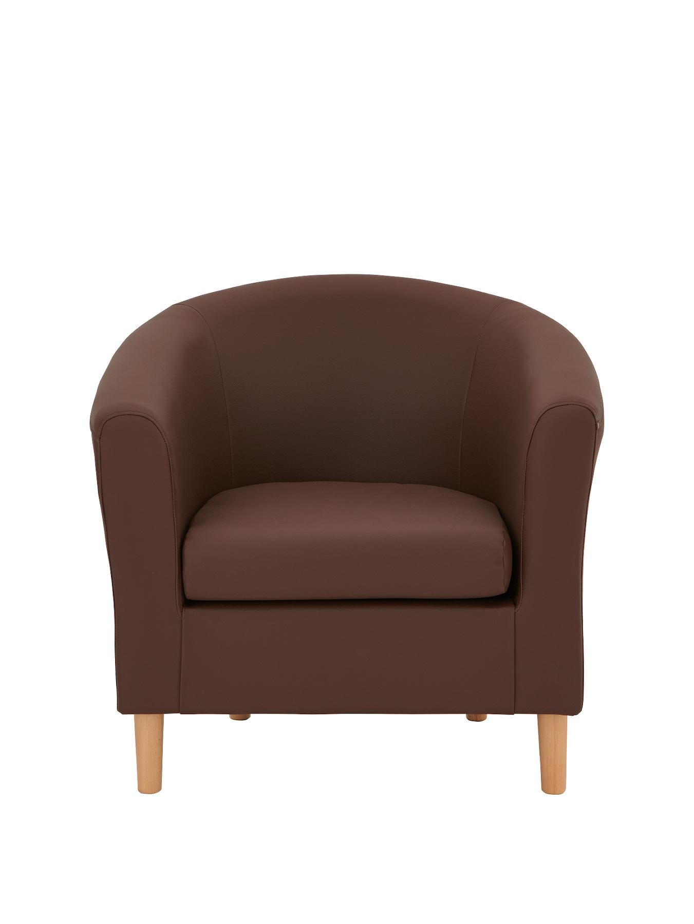 Josie Faux Leather Tub Chair - Chocolate, Black,Chocolate