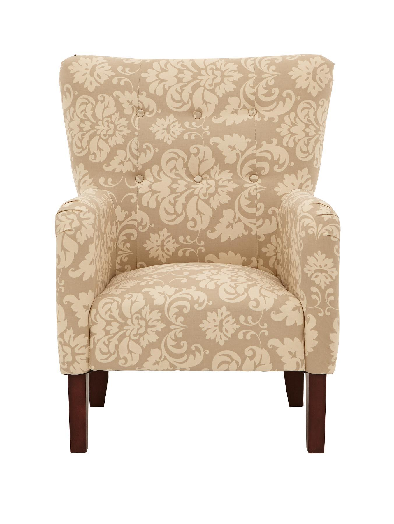 Milly Printed Fabric Accent Chair - Black, Black