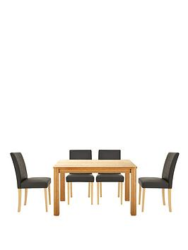 Verona 120 cm Table plus 4 Faux Leather Chairs