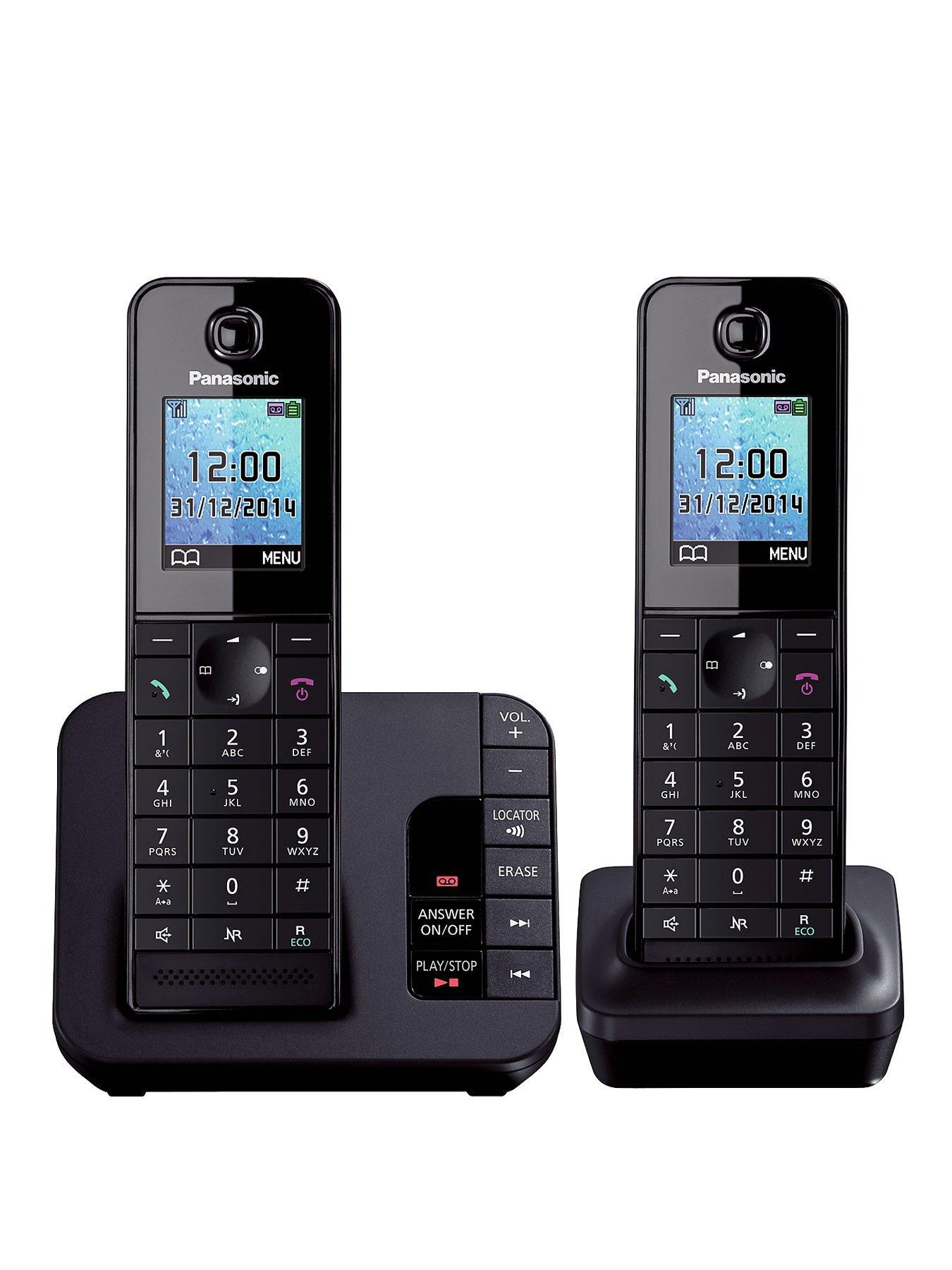 Panasonic TGH-222EB Cordless Telephone with Answering Machine - Twin