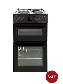 beko-bdv555ak-50cm-double-oven-solid-plate-electric-cooker-with-connection-black
