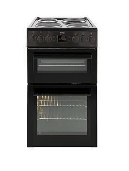 Image of Beko Bdv555Ak 50Cm Freestanding Double Oven Solid Plate Electric Cooker - Black