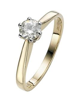 moissanite-9-carat-yellow-gold-50-point-solitaire-ring