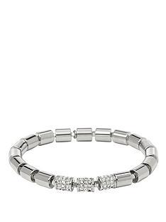 fossil-silver-tone-stretch-beaded-bracelet