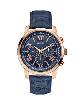 Guess Horizon Chronograph Rose Gold and Blue Croco Leather Strap Mens Watch