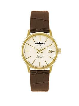 rotary-avenger-champagne-dial-brown-strap-mens-watch