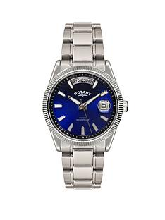 rotary-havana-blue-dial-stainless-steel-mens-watch