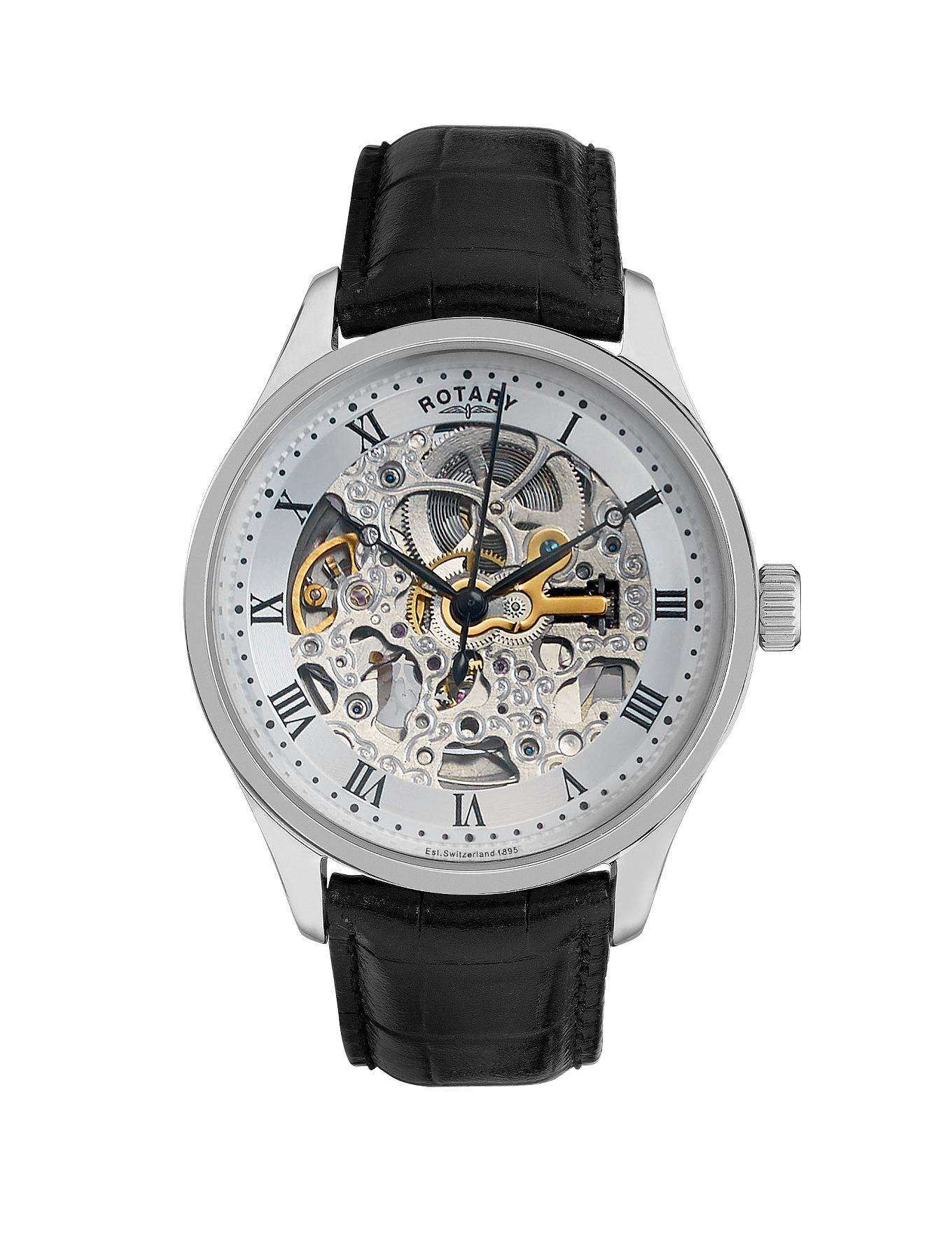 Rotary Skeleton Mechanical Stainless Steel Mens Watch