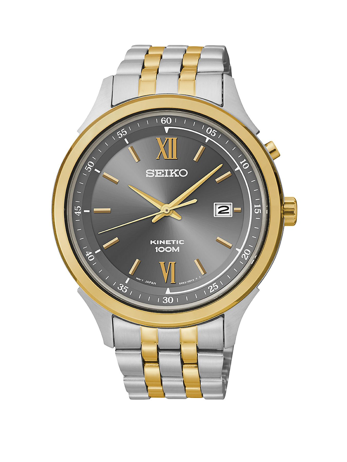 Seiko Stainless Steel and Gold-plated Two-Tone Kinetic Mens Watch
