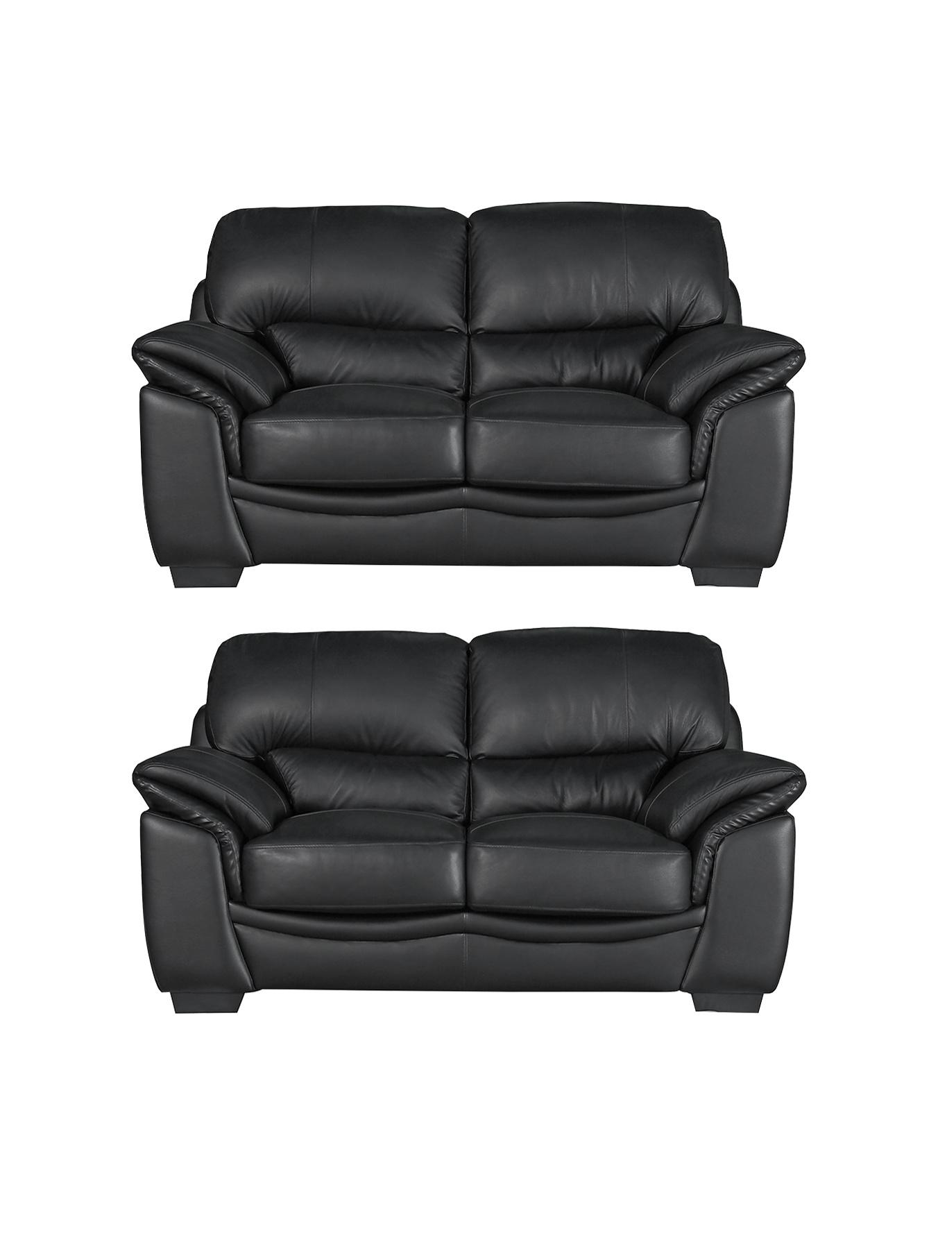 Harley 2-Seater plus 2-Seater Sofa Set - Black, Black,Chocolate
