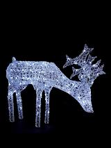 Grazing White Light-up Reindeer Outdoor Christmas Decoration
