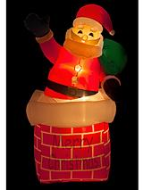 Outdoor Inflatable Light Up Santa in Chimney
