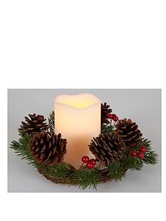 christmas-candle-holder-with-led-timer-light--cones-and-red-berries