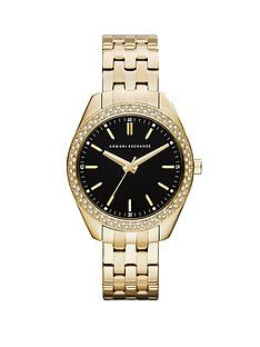 armani-exchange-black-dial-and-gold-ip-plated-bracelet-ladies-watch