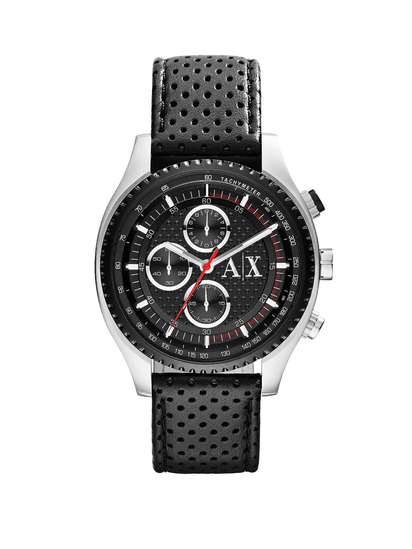 Armani Exchange Chronograph Black Dial and Black Leather Strap Mens Watch