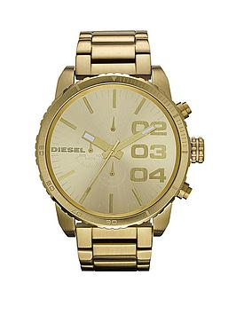 Diesel Double Down Chronograph Gold Plated Stainless Steel Bracelet Mens Watch