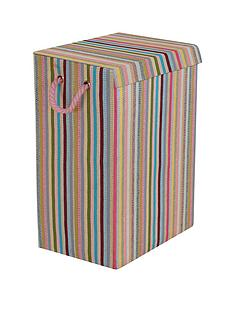 coloured-stripe-laundry-hamper