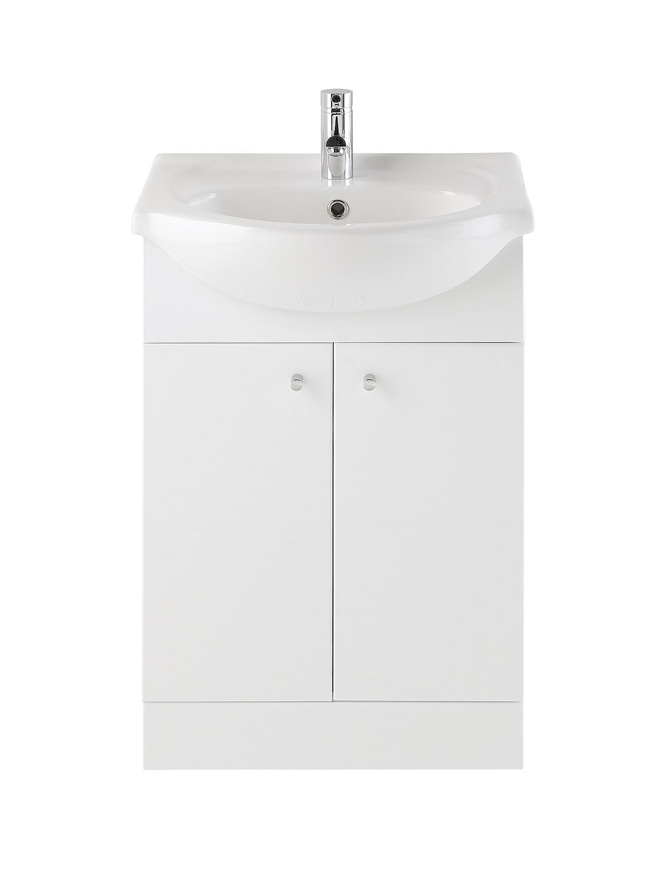 550mm Basin and Vanity Unit - Gloss White