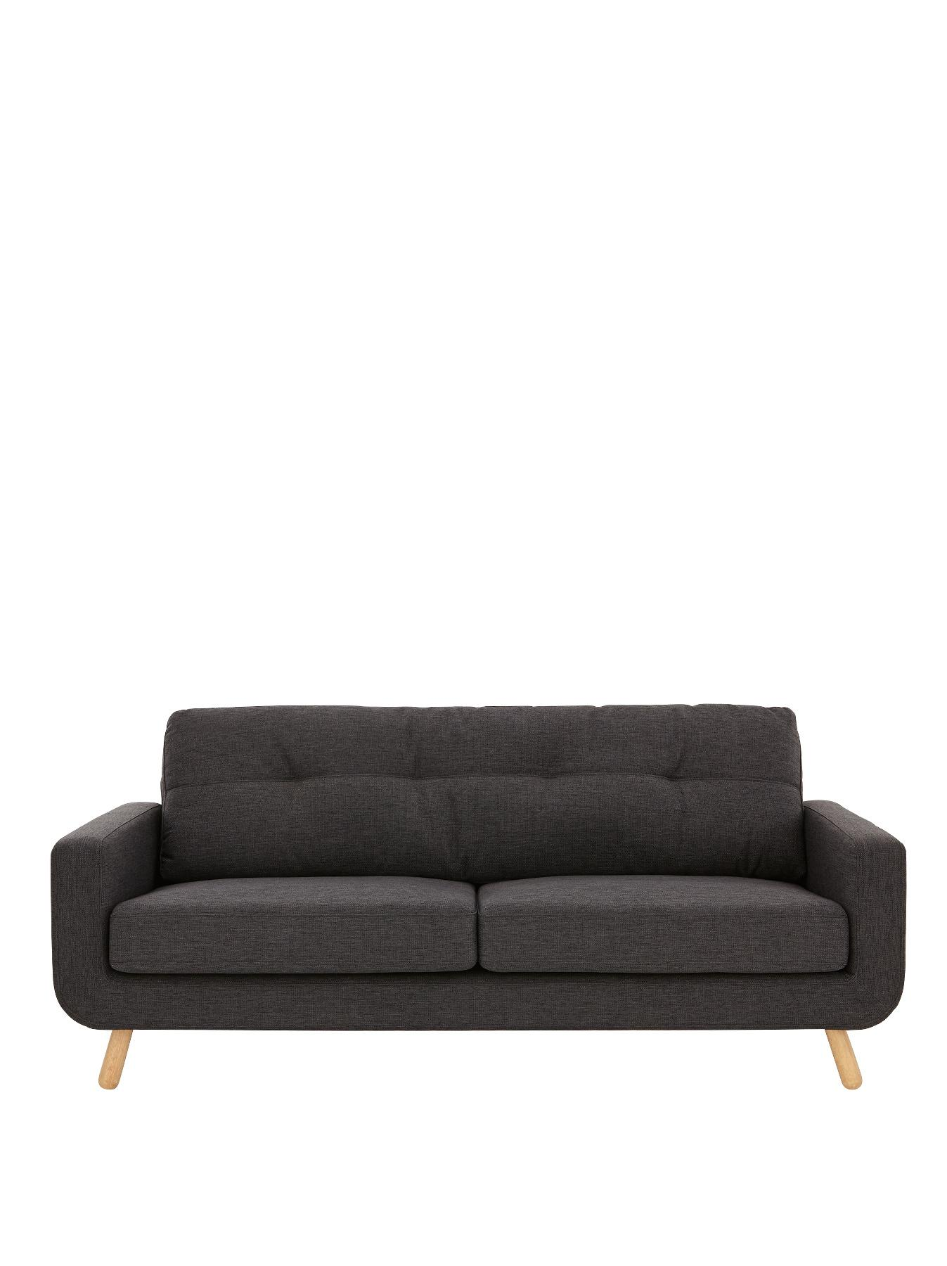 Sloane 3-Seater Sofa - Charcoal, Charcoal,Green