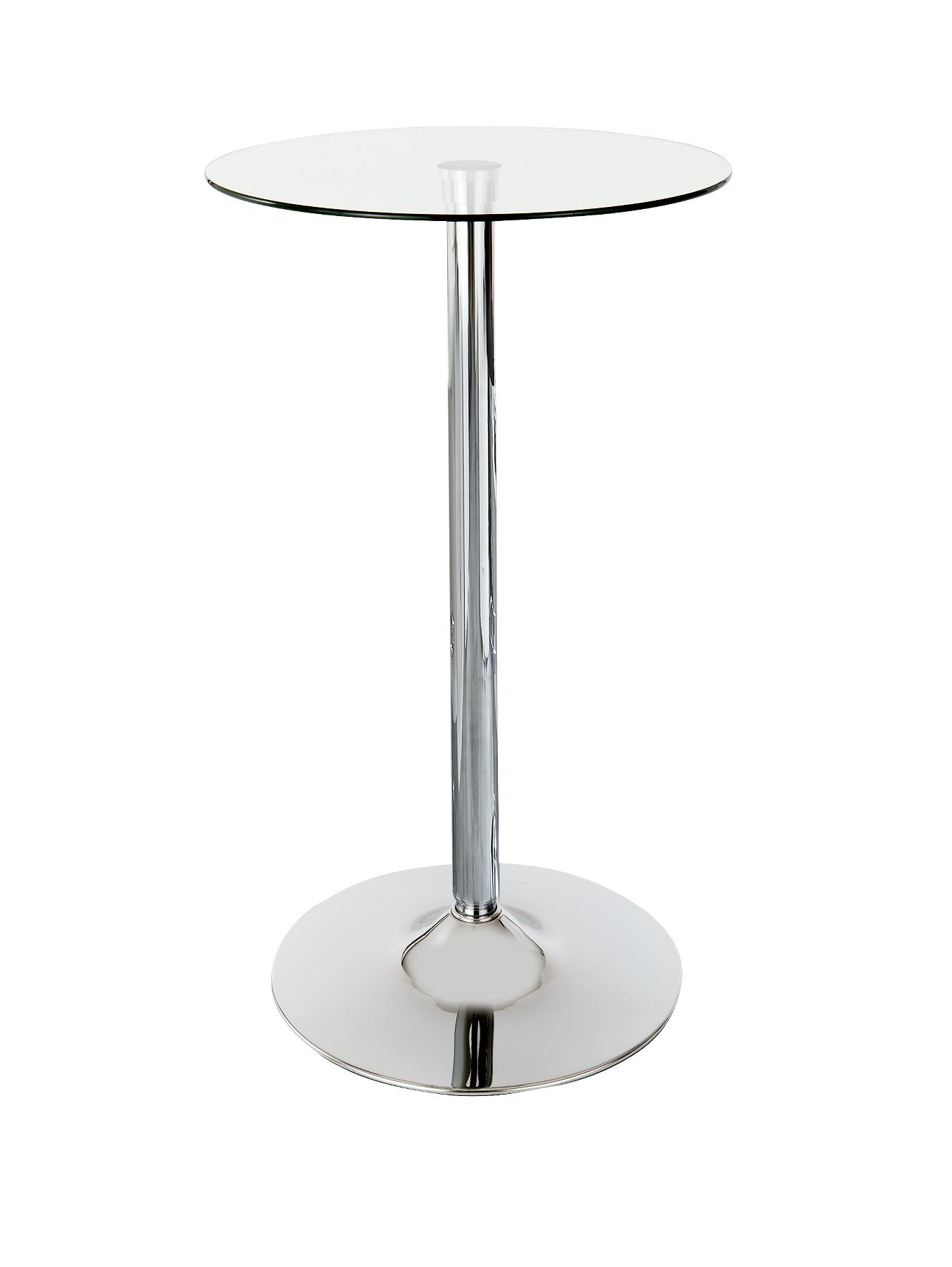 Roma Clear Glass and Stainless Steel Bar Table