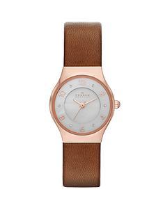 skagen-grenen-brown-leather-strap-ladies-watch