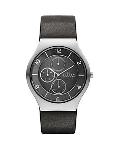 skagen-grenen-grey-leather-strap-multifunction-mens-watch
