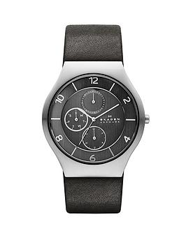 Skagen Grenen Grey Leather Strap Multifunction Mens Watch