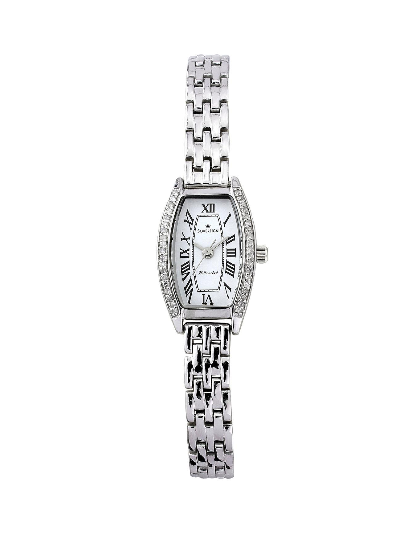 Sovereign Personalised Sterling Silver 25 Points Diamond Set Bracelet Ladies Watch