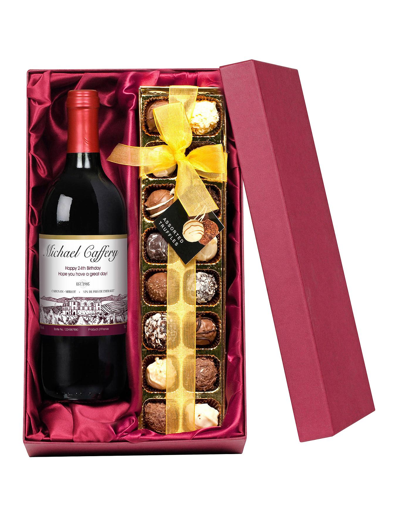 Personalised Wine and Chocolates - White, White,Red