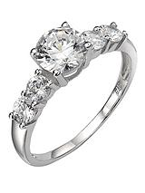 9 Carat White Gold Cubic Zirconia Ring with Stone-Set Shoulders