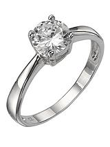 Sterling Silver White Cubic Zirconia Solitaire Dress Ring