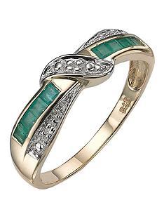 9-carat-yellow-gold-diamond-set-emerald-eternity-ring