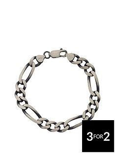 the-love-silver-collection-sterling-silver-gunmetal-finish-solid-figaro-mens-bracelet