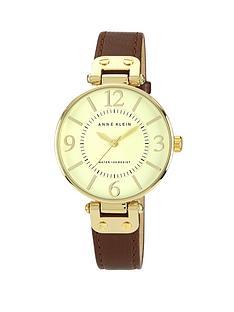 anne-klein-brown-leather-strap-ladies-watch