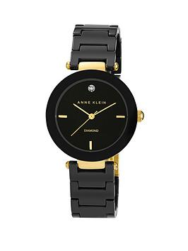 Anne Klein Genuine Diamond Black Ceramic Bracelet Ladies Watch